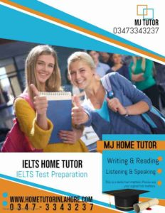 IELTS HOME TUTOR IN LAHORE ENGLISH HOME TUTOR IN LAHORE